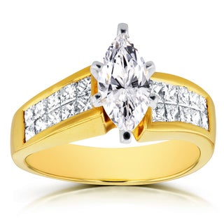 Annello by Kobelli 18k Yellow Gold Certified 2 1/8ct TDW Marquise Diamond Invisible Setting Engageme
