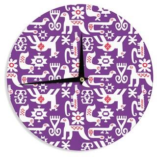 KESS InHouse Agnes Schugardt 'The Tribe' Purple Tribe Wall Clock