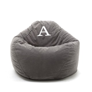BeanSack Big Joe Ultra Dorm Lounger Grey Microfiber Monogrammed Bean Bag Chair