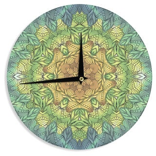 "Kess InHouse Art Love Passion "" Celtic Golden Flower"" Green Yellow Geometric Wall Clock 12"""