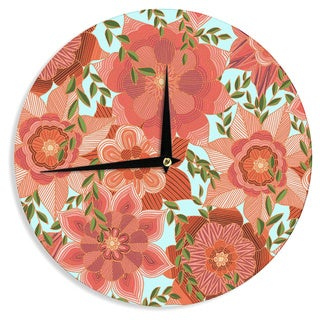 """Kess InHouse Art Love Passion """"Flower Power"""" Red Floral Wall Clock 12"""""""
