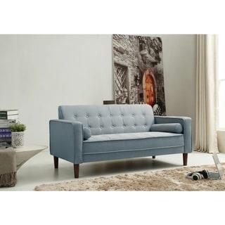 Porch & Den Halsey Tufted Blue Linen Sofa