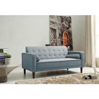 Nathaniel Home Nolan Tufted Blue Linen Sofa
