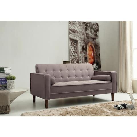 Carson Carrington Haparanda Tufted Grey Linen Sofa