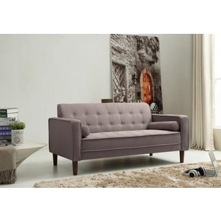 Nathaniel Home Nolan Tufted Grey Linen Sofa