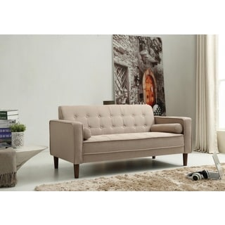 Nathaniel Home Nolan Tufted Beige Linen Sofa