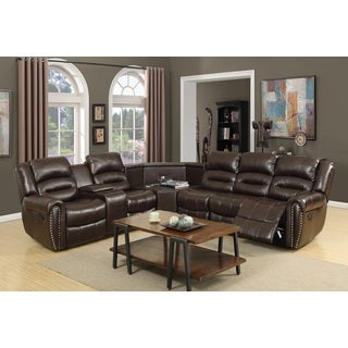 Nathaniel Home Amelia Brown Bonded Leather Sectional Sofa