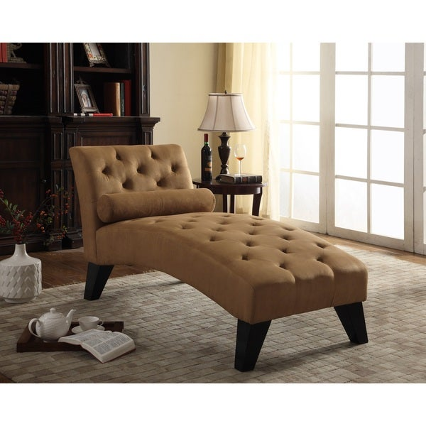Nathaniel home mila tufted brown microfiber chaise lounge for Brown microfiber chaise lounge