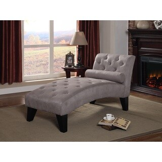 Nathaniel Home Mila Tufted Grey Microfiber Chaise Lounge