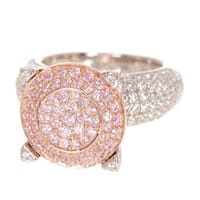 Suzy Levian Sterling Silver Pave Pink Cubic Zirconia Ring