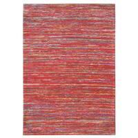 "Recycled Handmade Vintage Sari Silk Rugs - 5' x 7'6"""
