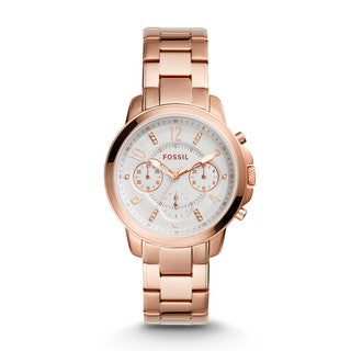 Fossil Women's ES4035 Gwynn Chronograph White Dial Rose Gold-Tone Stainless Steel Bracelet Watch