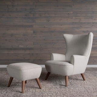 Victoria Mid-Century Modern Herringbone Grey Wingback Arm Chair and Ottoman by RST Brands