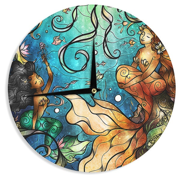 KESS InHouse Mandie Manzano 'Under the Sea' MermaidsWall Clock