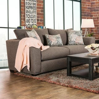 Furniture of America Brizette Contemporary Brown Linen Upholstered Sofa