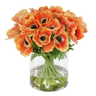 Jane Seymour Botanicals Peach Poppy Anemone Bouquet in 12-inch Glass Cylinder Vase