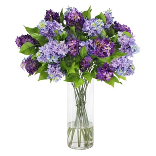 Jane Seymour Botanicals Faux Lilacs In Glass Cylinder Vase