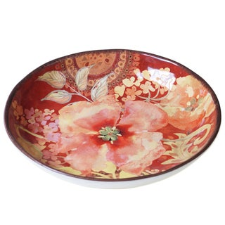 Certified International Watercolor Poppies Red and Pink Ceramic 12.75-inch Serving/Pasta Bowl
