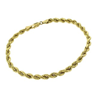 14k Yellow Gold 4mm Hollow Rope Diamond-cut Bracelet Chain