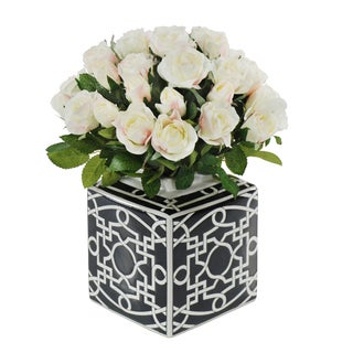 Jane Seymour Botanicals White Rose Bouquet In 14-inch Tall Black White Ceramic Vase