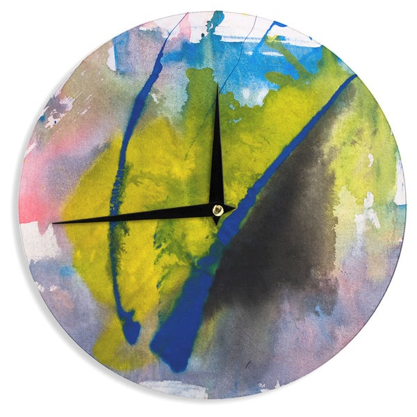 KESS InHouse Malia Shields 'Exploration' Yellow Blue Wall Clock