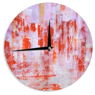 KESS InHouse Malia Shields 'Painted Cityscape' Pink Red Wall Clock