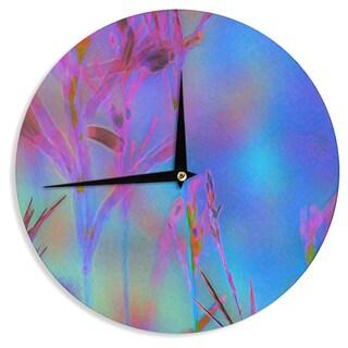 KESS InHouse Malia Shields 'Painterly Foliage Series 2' Blue Pink Wall Clock
