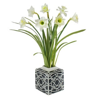 Jane Seymour Botanicals Daffodils in Black/White Ceramic 25-inch Tall Vase