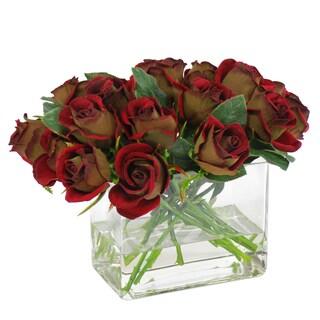 Jane Seymour Botanicals Red Green Rose Bouquet In 10-inch Rectangular Glass Vase