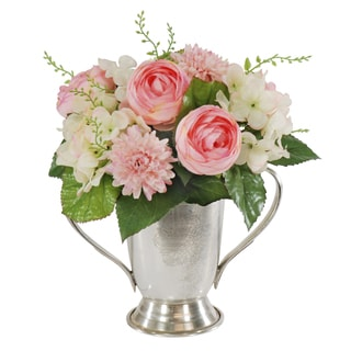 Jane Seymour Botanicals Mixed Pink Bouquet in Metal 9-inch Tall Trophy Cup