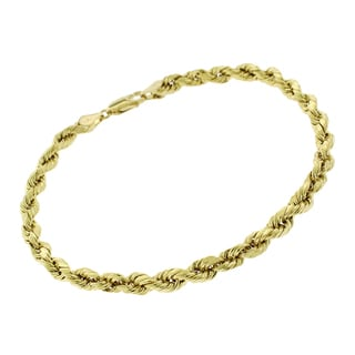 14k Yellow Gold 5mm Diamond-Cut 9-inch Rope Chain Bracelet