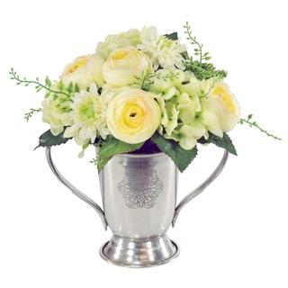 Jane Seymour Botanicals 9-inch Green Silk Mixed Bouquet In Metal Trophy Cup