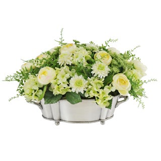 Jane Seymour Botanicals Mixed Ranunculus Centerpiece in Metal 15-inch Wide Oval Vase
