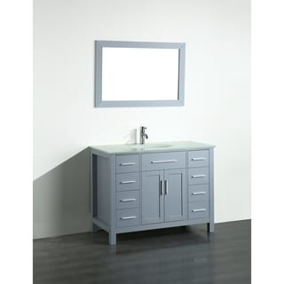 Bosconi 43-inch Grey Vanity Cabinet with Tempered Glass Top