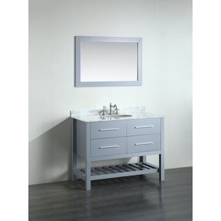 Bosconi 43-inch Grey Vanity Cabinet with White Carrara Marble Top