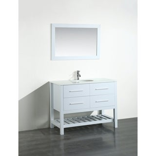 Bosconi 43-inch White Vanity Cabinet with White Tempered Glass Top