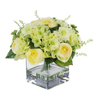 Jane Seymour Botanicals Cream Green 9-inch Mixed Bouquet in Square Glass Vase