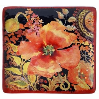 Certified International Watercolor Poppies Red/Black Ceramic 12.25-inch Square Platter