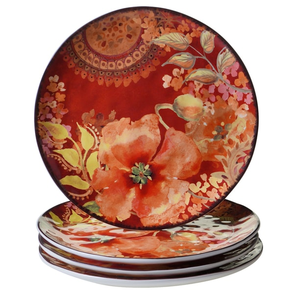 Certified International Watercolor Poppies 10.75-inch Dinner Plates (Set of 4)  sc 1 st  Overstock.com & Certified International Watercolor Poppies 10.75-inch Dinner Plates ...