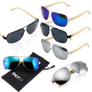 Gearonic Vintage Wooden Mirrored Fashion Aviator Sunglasses