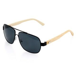 Gearonic Vintage Wooden Mirrored Fashion Aviator Sunglasses (Option: Black)