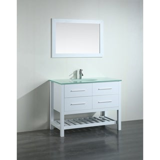 Bosconi 43-inch White Vanity Cabinet with Tempered Glass Top