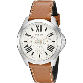 Fossil Women's AM4638 'Cecile' Multi-Function Crystal Brown Leather Watch