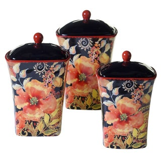 Certified International Watercolor Poppies 3-piece Canister Set
