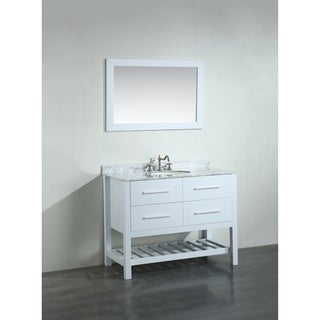 Bosconi 43-inch White Vanity Cabinet with White Carrara Marble Top