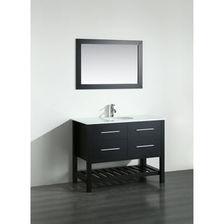 Bosconi 43-inch Black Vanity Cabinet with White Tempered Glass Top