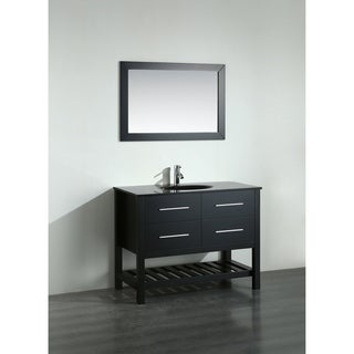 Bosconi 43-inch Black Vanity Cabinet with Black Glass Top