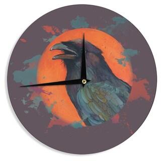 KESS InHouse Lydia Martin 'Raven Sun Alternate' Orange Purple Wall Clock