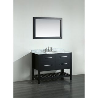 Bosconi SB-250-6BCM 43-inch Black Vanity Cabinet with White Carrara Marble Top and Mirror