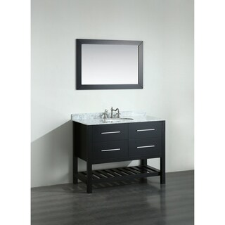 Bosconi 43-inch Black Vanity Cabinet with White Carrara Marble Top